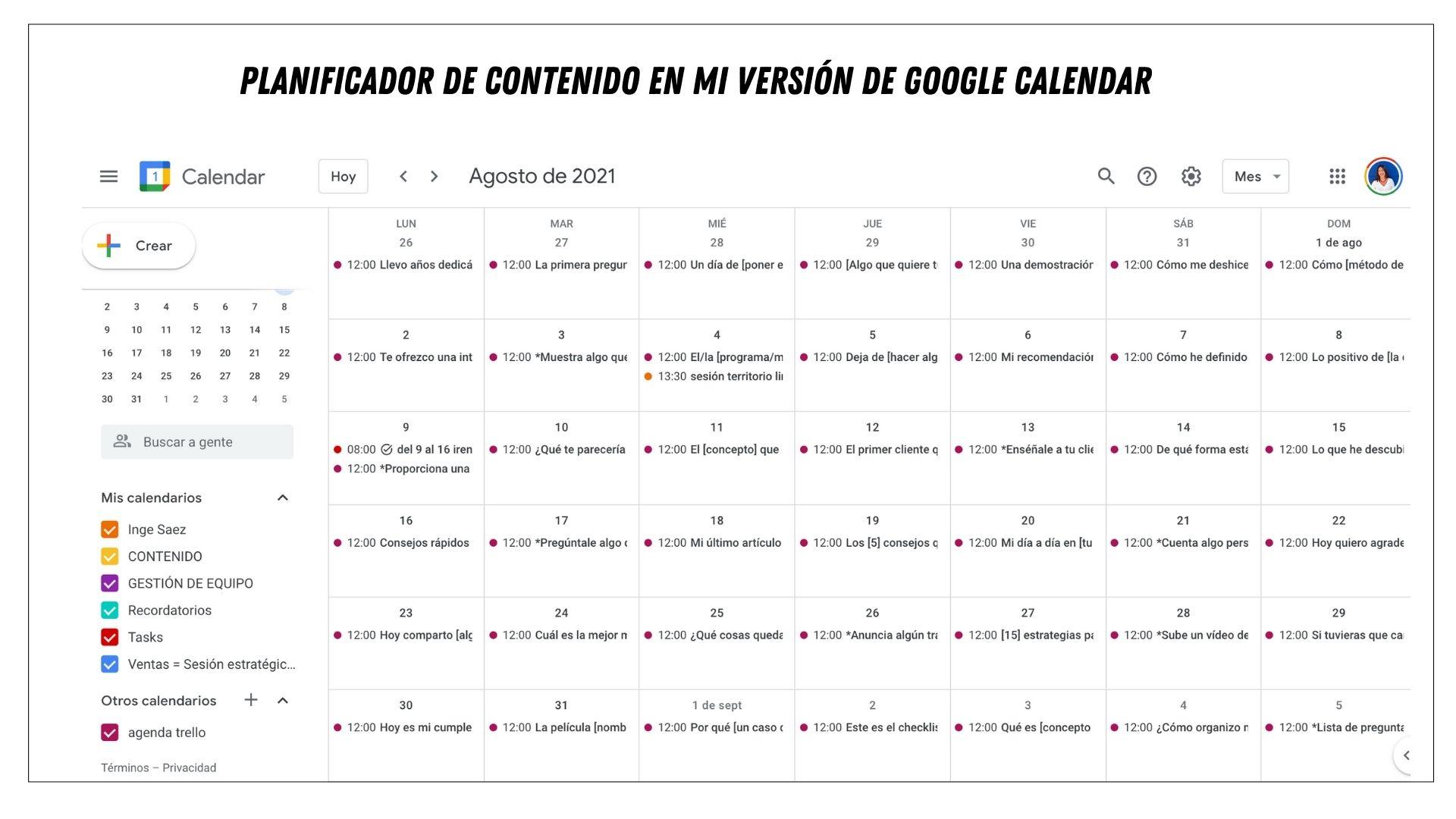 planificador contenido google calendar